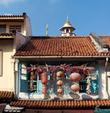 Detail of a Shophouse in Singapore. Royalty Free Stock Image