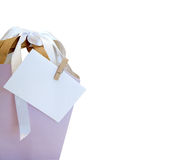 Detail of shopping bag with card Royalty Free Stock Photos