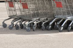 Shopping carts. Detail of shopping carts outdoors Stock Photography