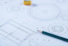 Detail shot of Architectural blueprint Royalty Free Stock Photos