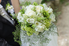 A detail shot of a beuafitul bridal bouquet Royalty Free Stock Photography