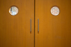 Detail shot of a closed wooden doors Royalty Free Stock Photos