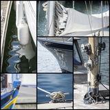 Detail shot collage of yacht sailboats royalty free stock photo