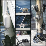 Detail shot collage of yacht sailboats Royalty Free Stock Photos