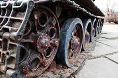 Detail shot with old vintage tank tracks and wheels. Royalty Free Stock Images