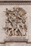 Detail shot of Ornamental Sculptures on Arch of Triumph, Paris France Stock Image