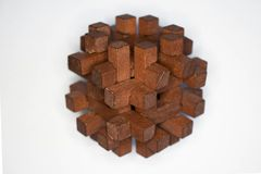 Detail shot puzzle. Closeup wood puzzle on white background Royalty Free Stock Photos