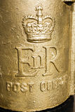 Detail shot, Royal Mail Gold Post Box dedicated to Paralympian Ollie Hynd Royalty Free Stock Images