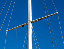 Detail shot of sailing boat poles in marina. Royalty Free Stock Photos