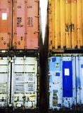 Detail shot of stacked containers Royalty Free Stock Image