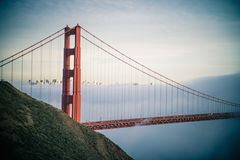 A detail shot of the suspension bridge Golden Gate Bridge. This is a detail shot of the suspension bridge Golden Gate Bridge royalty free stock image