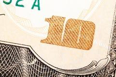 Detail shot of a ten dollar bill. Stock Photo