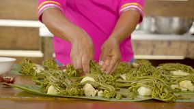 Detail Shot Of Woman Preparing Edible Wild Fern. With Palmetto stock footage