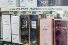 Detail of a showcase of a luxury perfume store royalty free stock images