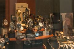 Detail of the showcase of a watchmaking jewelery in Badenweiler royalty free stock images
