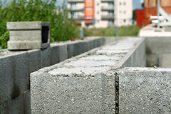 Detail of shuttering blocks on construction site Royalty Free Stock Photography