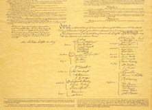 detail of signature page of Declaration of Independence Stock Photo