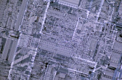 Detail of a silicon processor die Royalty Free Stock Photography