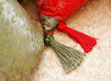Detail of silk pillow Royalty Free Stock Photos
