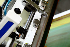 Detail of silk screen printing machine in the workshop Royalty Free Stock Photo