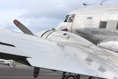 Detail of a silver aircraft Royalty Free Stock Photography