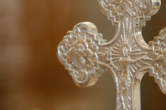 Detail silver cross. A beautiful silver cross in a church Royalty Free Stock Photography