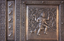 Detail of silver door, Karni Mata Temple, Deshnok, India Royalty Free Stock Photography