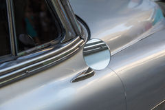 Detail of Silver oldtimer car. In Havana Royalty Free Stock Images