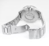 Detail of silver wristwatch Royalty Free Stock Photo