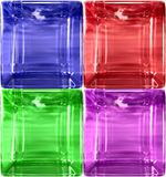 DETAIL SIMPLE ROUNDED GLASS CU. RGB and P. Red, green,blue and purple glass cube. Very detailed in high resolution. Can be use for as frame with content inside Stock Photography
