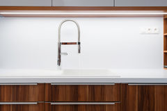 Detail of sink and tap in kitchen Stock Photos