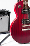 Detail of six-string electric guitar closeup, selective focus Royalty Free Stock Photos
