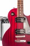 Detail of six-string electric guitar closeup, selective focus Stock Photo