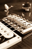 Detail of six-string electric guitar Stock Photo
