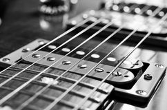 Detail of six-string electric guitar Stock Photos