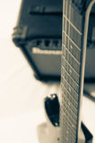 Detail of six-string electric guitar closeup, selective focus.Processed with vintage style Stock Images