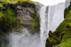Detail of Skogafoss waterfall near Skogar, Iceland Royalty Free Stock Image