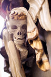 Detail of a skull with a laurel crown Stock Photography