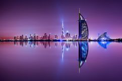 Detail of skyscraper reflection. The Palm island, United Arab Emirates. Royalty Free Stock Image