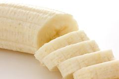 Detail of sliced banana with white background. Stock Photo