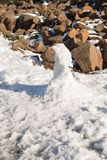 Snow man Tasmania. Detail of a small snowman on Mount Wellington near Hobart, Tasmania Royalty Free Stock Photography