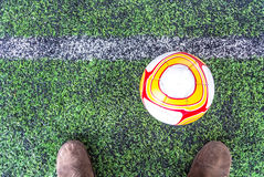 Detail of a soccer game. Royalty Free Stock Photos