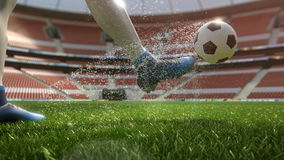 Detail soccer player kicking ball on field slow motion 4k stock video