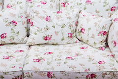Detail of sofa with rose floral vintage ornament Stock Image