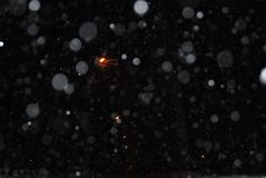 Detail of softly falling snowflakes. In the nightly sky. Abstract background royalty free stock photo