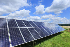 Detail of Solar Power Station on the spring Meadow Royalty Free Stock Photos