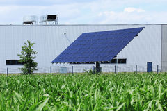 Detail of the Solar Power Station on spring Meadow Royalty Free Stock Photography