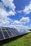 Detail of the Solar Power Station on spring Meadow Stock Photography