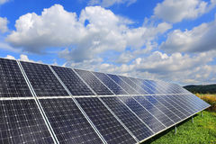 Detail of Solar Power Station. On the summer Meadow stock image
