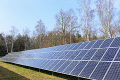 Detail of Solar Power Station on winter Meadow Stock Photos